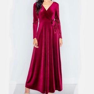 Soprano velvet surplice maxi evening dress